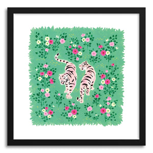 hide - Art print Two Pink Tigers by artist Skylar Kim in white frame
