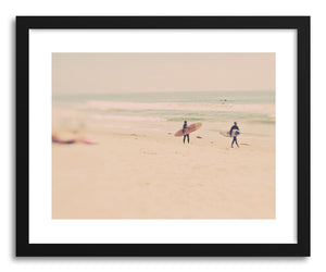 hide - Art print Surfers by artist Myan Soffia in natural wood frame