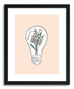 hide - Art print Growth Hybrid Lightbulb Flowers by artist Peggy Dean in natural wood frame