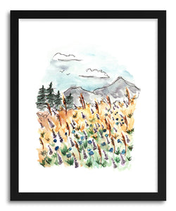 hide - Art print Landscape Wildflower Field by artist Peggy Dean in natural wood frame