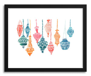 hide - Art print Lanterns by artist Peggy Dean in white frame