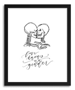 hide - Art print Love Knows No Gender by artist Peggy Dean in white frame