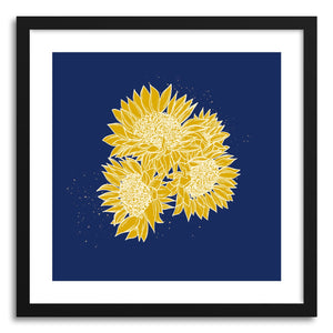 hide - Art print Midnight Smile Sunflowers by artist Peggy Dean in natural wood frame