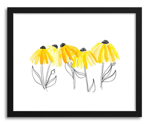hide - Art print Black Eyed Susan by artist Peggy Dean in white frame