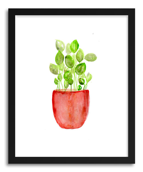 Fine art print Red Pot Greenery by artist Peggy Dean