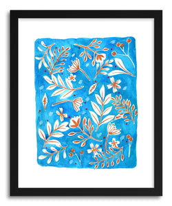 Fine art print Blue Brown Leaves by artist Peggy Dean