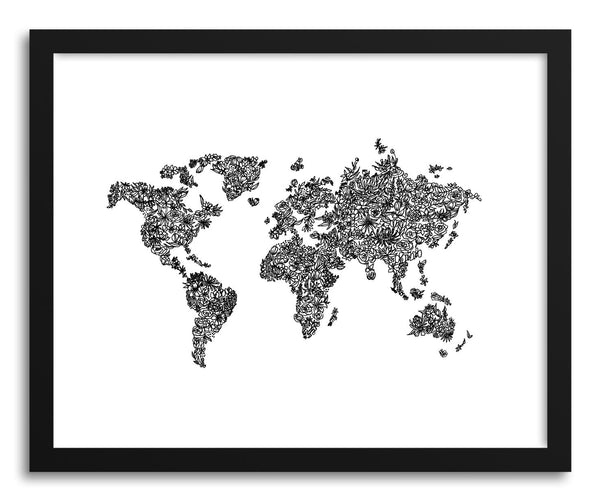Fine art print Botanical World Map by artist Peggy Dean