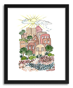 hide - Art print Brownstone Village by artist Peggy Dean in natural wood frame