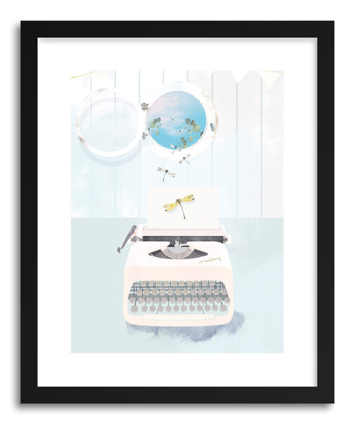 Fine art print Typewriter and The Dragonfly by artist Susu Stolle