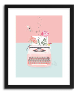 hide - Art print Typewriter Inspiration by artist Susu Stolle in natural wood frame