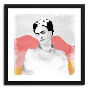hide - Art print Frida Kahlo Loves Colors by artist Susu Stolle in natural wood frame