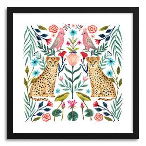 hide - Art print Safari by artist Ploypisut in natural wood frame