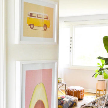 Art Crate Yellow Van piece framed white living room collection