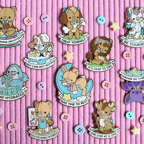 Self Care Plushie Pals Enamel Pins - Full Set