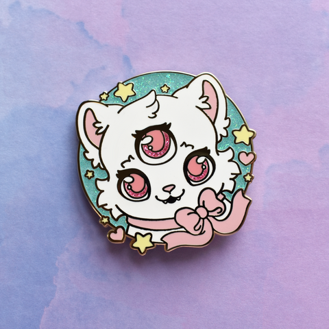 3 Eyed Cat Enamel Pin