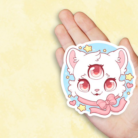 Magical 3 Eyed Cat Vinyl Sticker