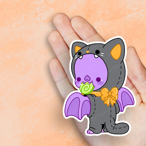 Bright Bat Cat Costume Vinyl Sticker
