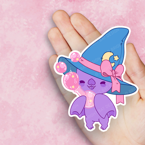 Bright Bat Witch Vinyl Sticker