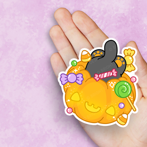 Candy Cat Pumpkin Vinyl Sticker