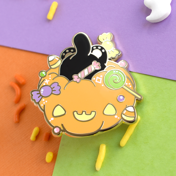 Candy Cat Pumpkin Enamel Pin