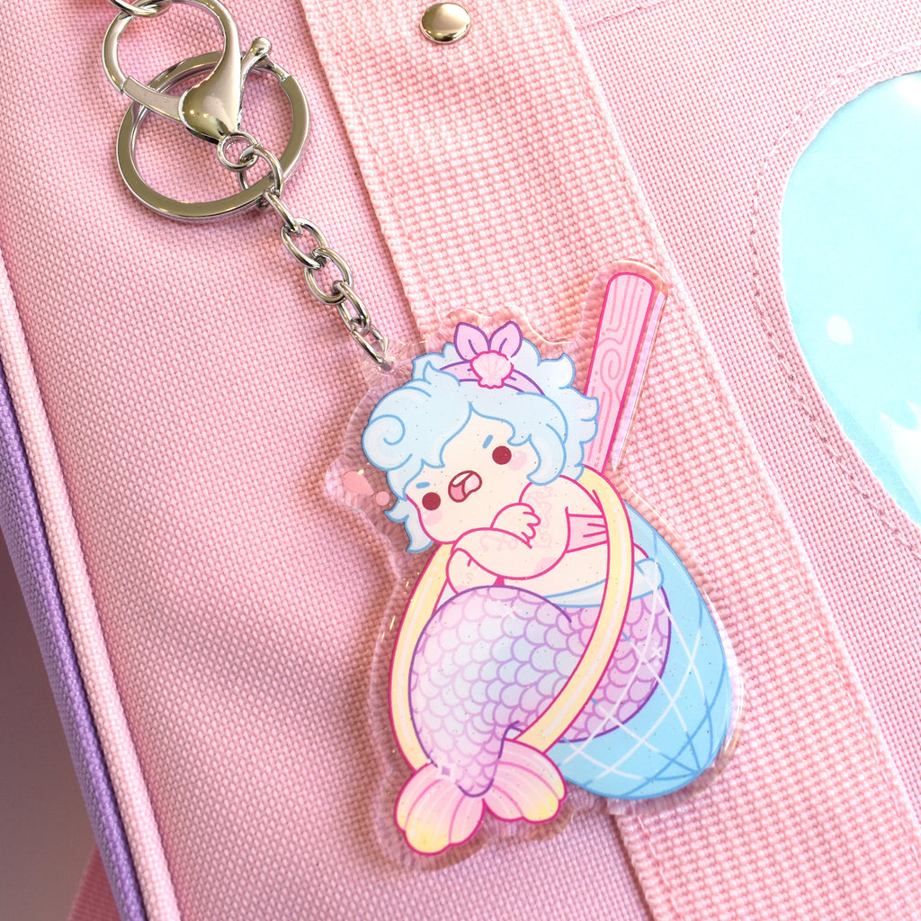 Caught Mermaid Charm Keychain
