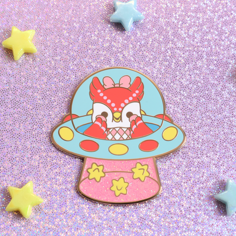 Star Fragment UFO Owl Enamel Pin