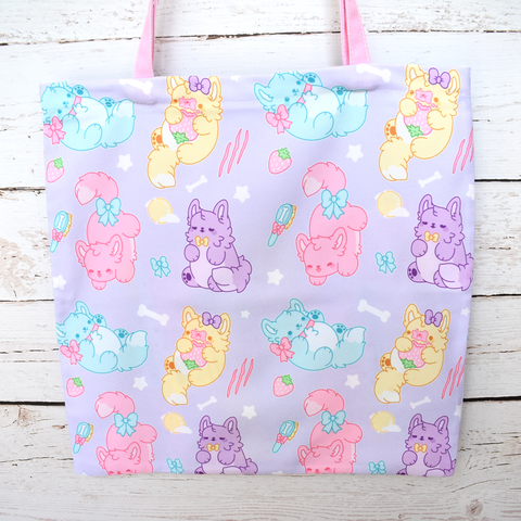 Pastel Werewolves Zipper Tote