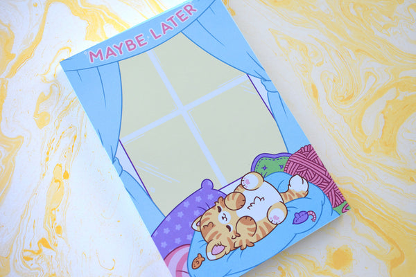 Maybe Later Lazy Cat Notepad
