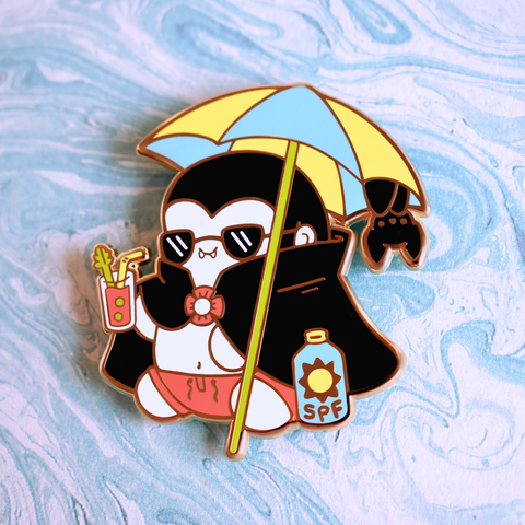 Dracula on the Beach Enamel Pin