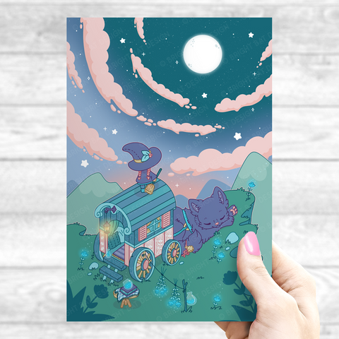 Flower Cliff Witch Print & Poster (Holographic & Satin)
