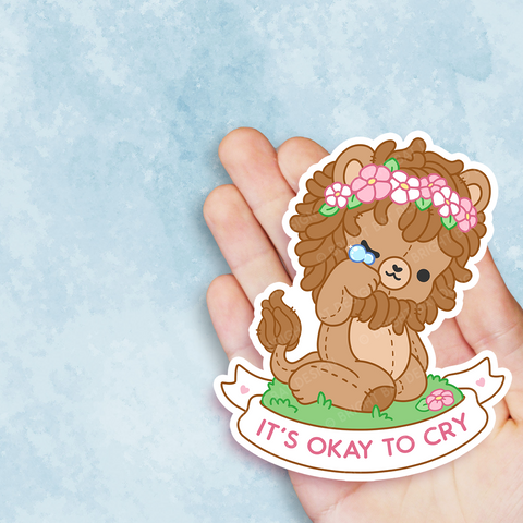 It's Okay To Cry Lion Vinyl Sticker