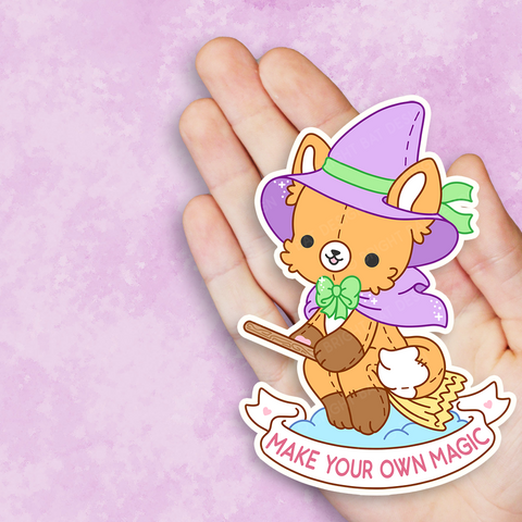 Make Your Own Magic Fox Witch Vinyl Sticker