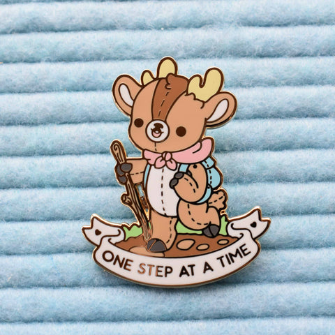 One Step At A Time Deer Enamel Pin