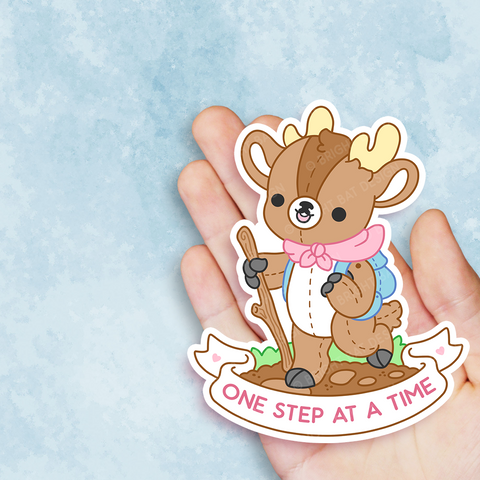 One Step At A Time Deer Vinyl Sticker