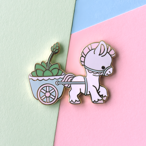 Pony Cart Vintage Planter Enamel Pin