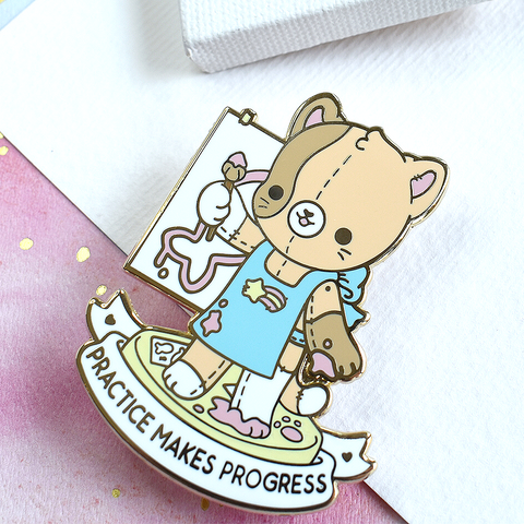 Practice Makes Progress Cat Artist Enamel Pin