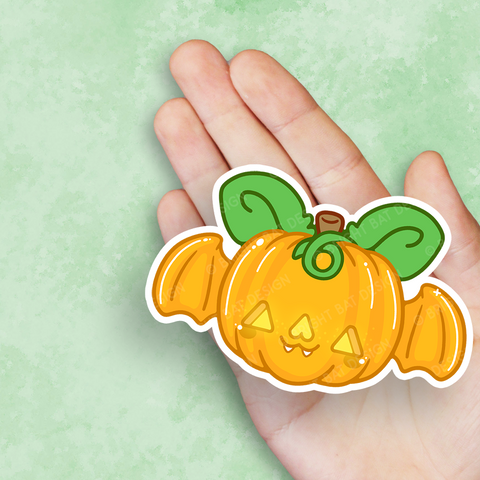 Pumpkin Bat Vinyl Sticker