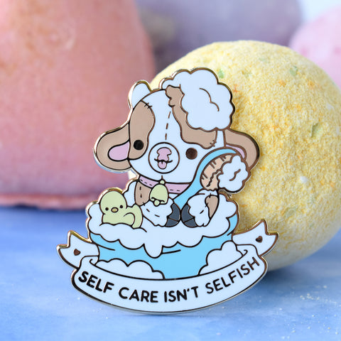 Self Care Isn't Selfish Cow Enamel Pin