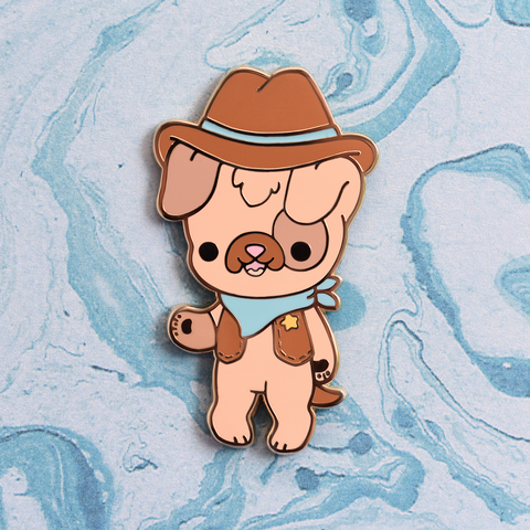 Cowboy Sheriff Dog Enamel Pin