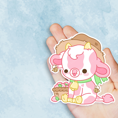 Strawberry Cow Vinyl Sticker