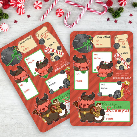 Krampus Naughty Gift Tag Sheets (2 Pack)