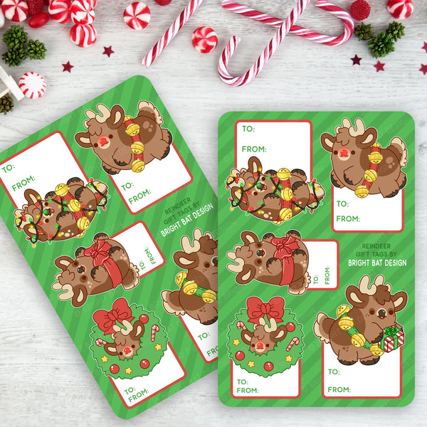 Holiday Reindeer Gift Tag Sheets (2 Pack)