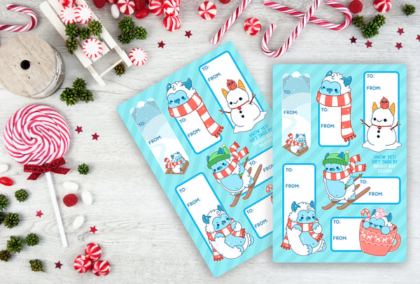 Snow Yeti Gift Tag Sheets (2 Pack)