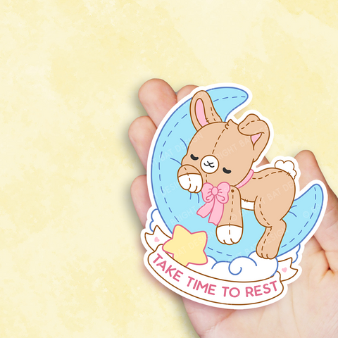 Take Time To Rest Bunny Vinyl Sticker