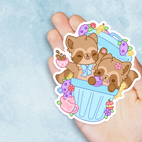 Trash Can Tea Party Vinyl Sticker