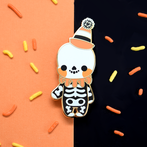 Vintage Halloween Skeleton Enamel Pin