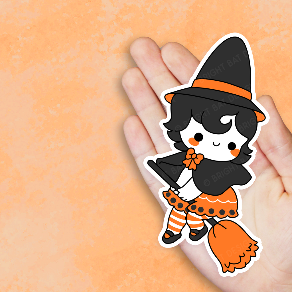 Vintage Halloween Witch Vinyl Sticker