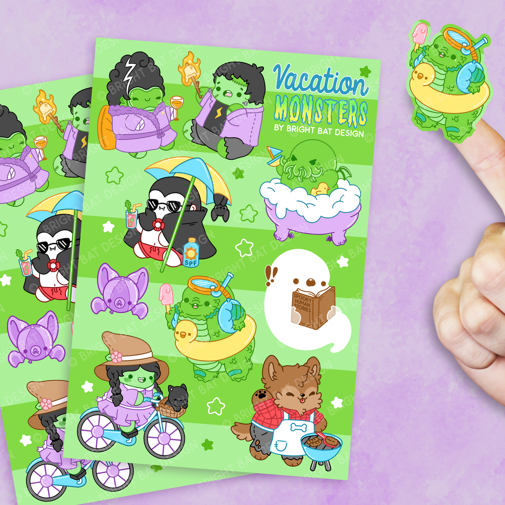 Vacation Monsters Sticker Sheets (2 Pack)