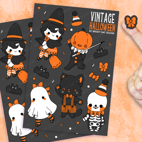 Vintage Halloween Sticker Sheets (2 Pack)