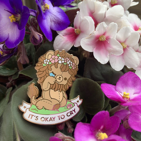 It's Okay To Cry Lion Enamel Pin